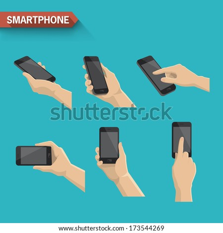 Hand holding and touching a smartphone. Vector - stock vector