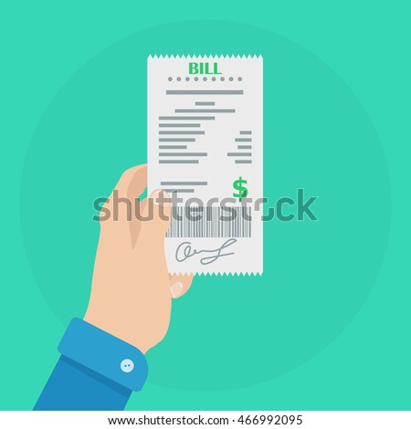 Hand holding bill. Bill vector icon. Hand holding receipt. Receipt icon symbol. Bill icon picture. Bill vector illustration. Receipt icon image. Bill icon in flat style
