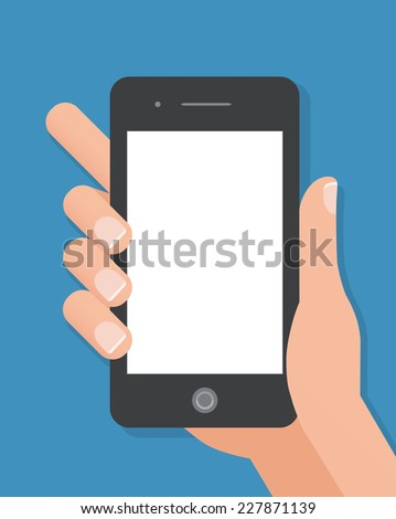 Hand holding black smart phone on blue background. Flat design concept. - stock vector