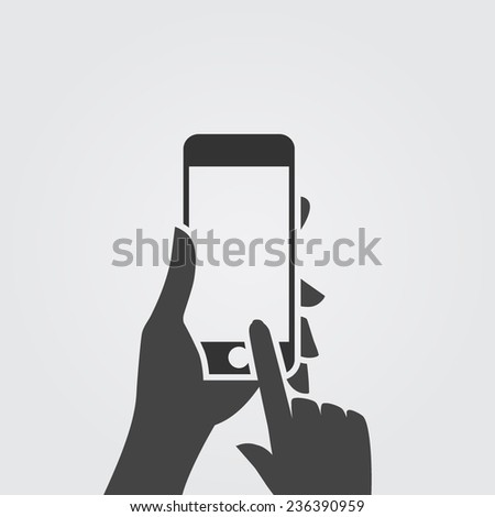 Hand holding black smartphone, touching blank screen. Using mobile smartphone.  - stock vector