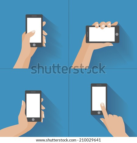 Hand holding black smartphone, touching blank white screen. Using mobile smart phone, flat design concept. Eps 10 vector illustration - stock vector