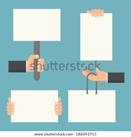 Hand holding blank paper, vector - stock vector