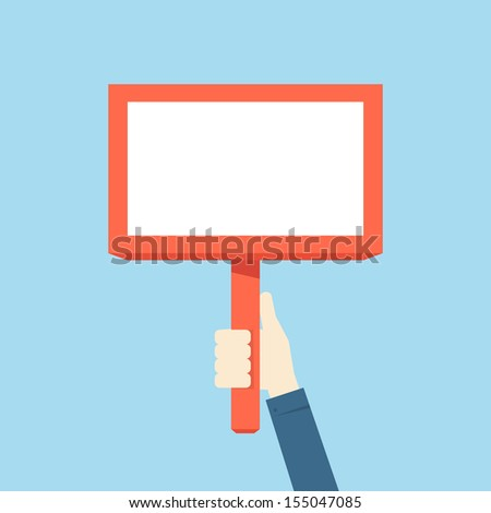 hand holding blank plate, vector - stock vector