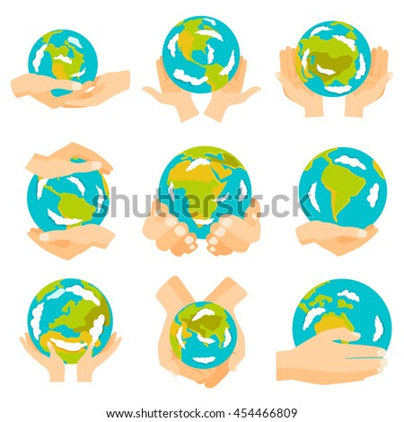 Hand holding blue and yellow earth. Earth hands concept of happy earth day eco friendly, help ecology, future life, natural. Earth hands isolated on black background modern design vector set. - stock vector