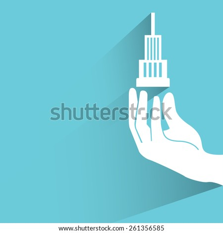 hand holding building , real estate investment on blue background, flat and shadow theme - stock vector