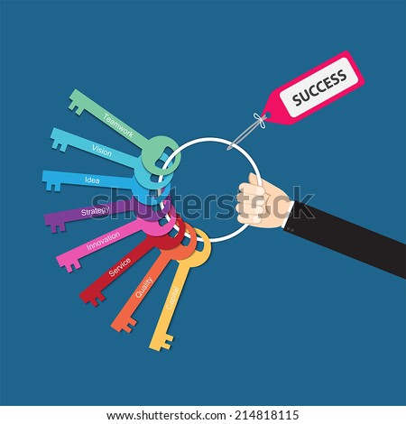 Hand holding bunch of keys for success, vector for  success in business concept, key to success,  key success factors,   - stock vector