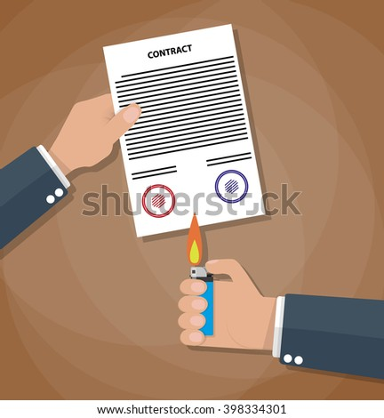 Hand holding burning lighter under a contract. Contract termination concept. vector illustration in flat design on brown background - stock vector