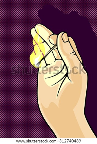 Hand holding burning match - stock vector