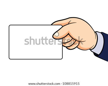 Hand holding card isolated on white