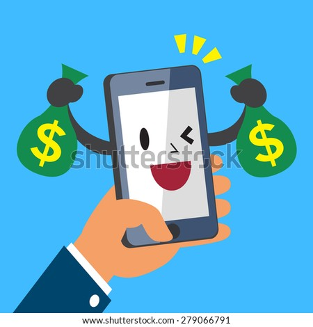 Hand holding cartoon smartphone and earning money - stock vector