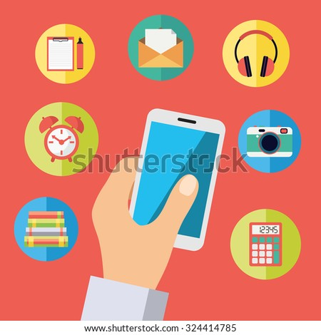 Hand holding cell phone with icons: headphones, photo camera, mail, alarm clock, library books, calculator, organizer