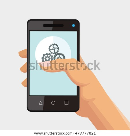 hand holding cellphone and office related items icon