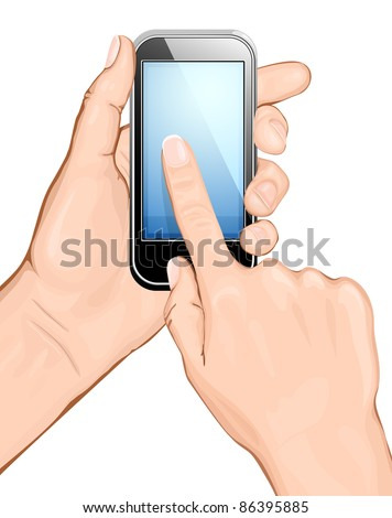Hand holding cellular phone and touching the screen. vector illustration.  All main elements are on separate layers and can be edited as required - stock vector