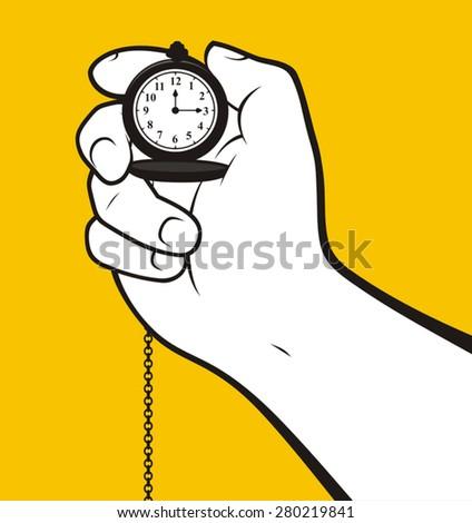 Hand holding classic clock - stock vector