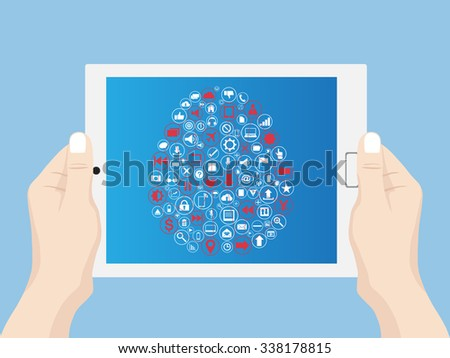 Hand holding Concept Tablet computer with human brain Web icons, Business icons and Technology icons for technology and business concept, Vector Illustration EPS 10. - stock vector