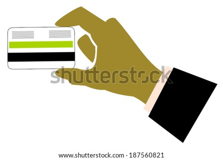hand holding credit card - stock vector