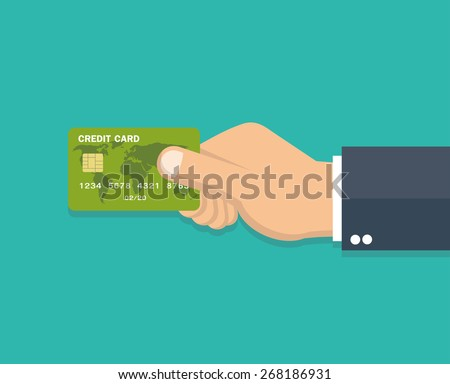 Hand holding credit card - Flat style  - stock vector