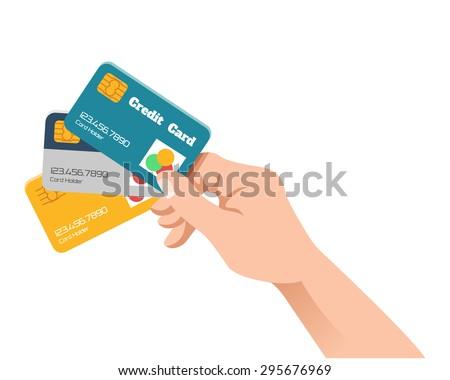 Hand holding credit card. Vector flat illustration - stock vector
