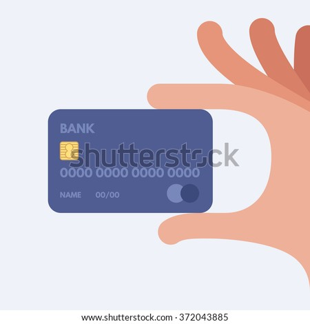 Hand holding credit card. Vector illustration. Flat design style. - stock vector