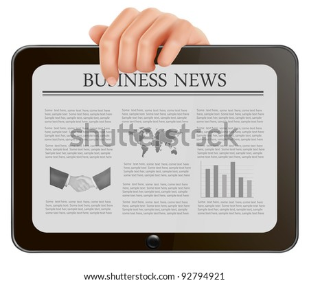 Hand holding digital tablet pc with business news. Vector illustration - stock vector