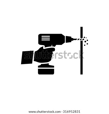 Hand holding drill machine vector icon  - stock vector