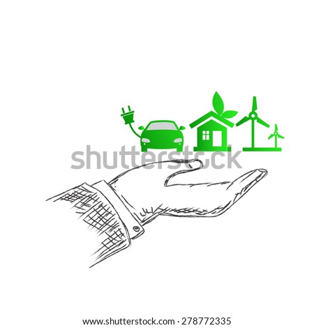 Hand holding Eco icon set. Sketch, vector illustration - stock vector
