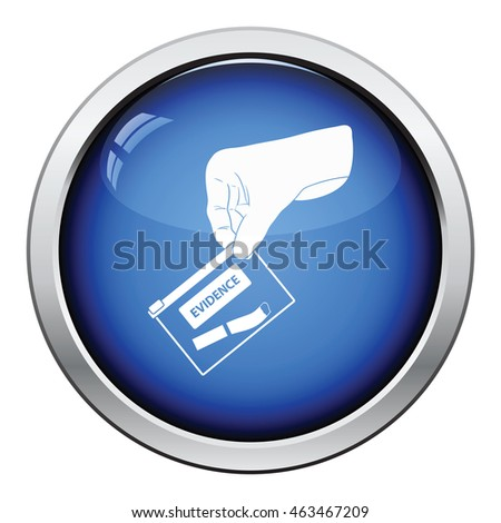 Hand holding evidence pocket icon. Glossy button design. Vector illustration.