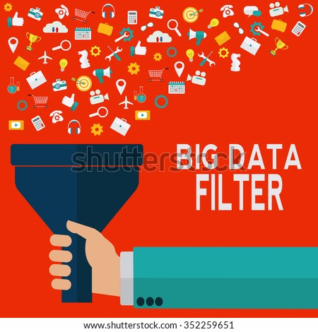 Hand holding funnel, big data filter, data tunnel, analysis vector concept - stock vector