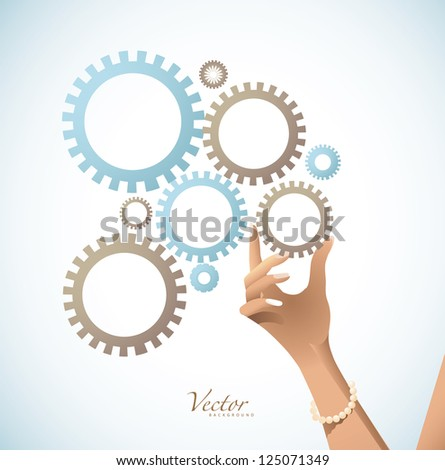 Hand Holding Gear Vector EPS 8 Grouped for easy editing no open shapes or paths. - stock vector
