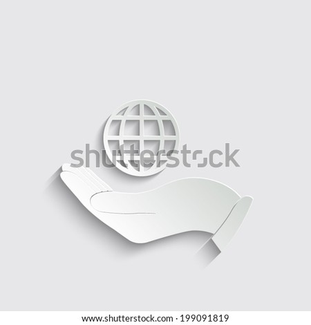 Hand holding Globe earth icon on a grey background - stock vector