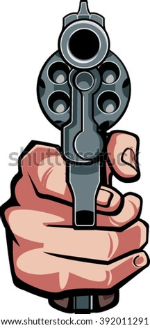 hand holding gun in front view - stock vector