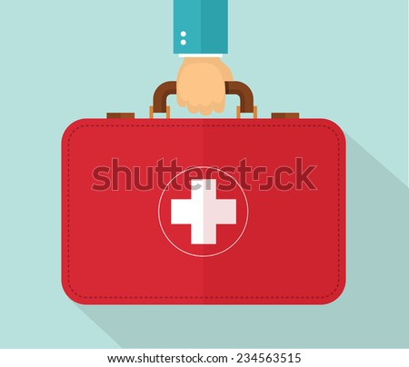 Hand holding healthcare briefcase. Eps10 - stock vector