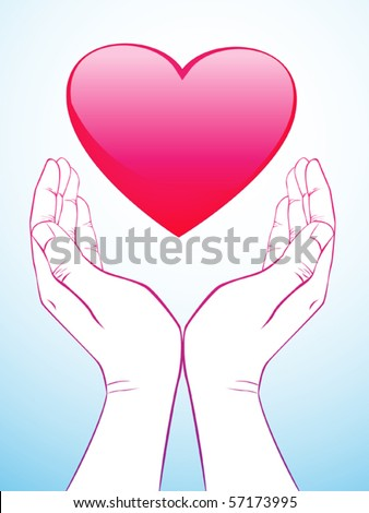 hand holding heart - stock vector