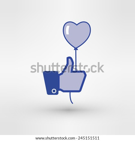 Hand holding heart baloon icon. Thumb up. Template dedicated to love and summer . - stock vector