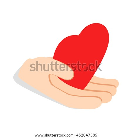Hand holding heart icon in isometric 3d style isolated on white background. Health symbol - stock vector