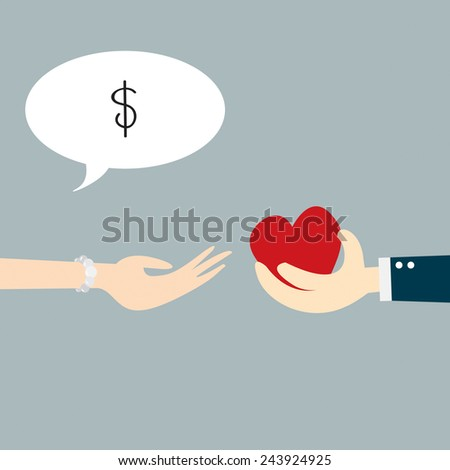 Hand holding heart with concept business - stock vector