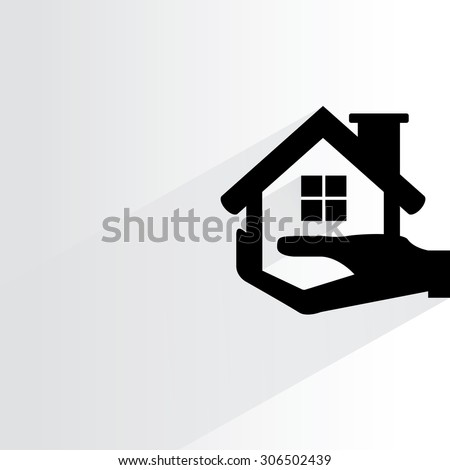 hand holding home on white background, flat and shadow theme