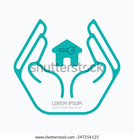 Hand holding house.flat logo design,safety care concept,on white background, vector illustration. - stock vector