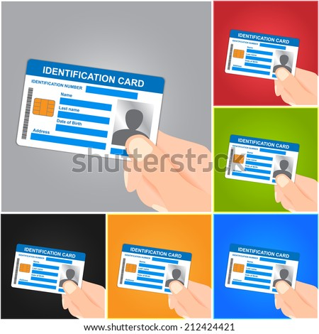 Hand Holding Identification Card on Color Background. ID Card Icons Set.