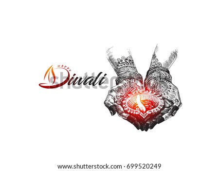 Hand holding Indian oil lamp - diya, Diwali festival, Hand Drawn Sketch Vector illustration.