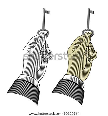 Hand holding key - stock vector