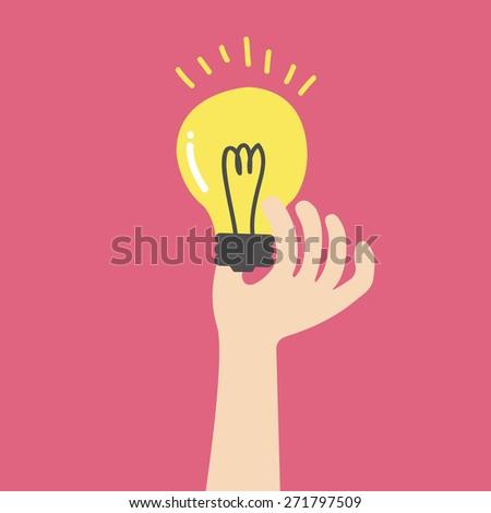 Hand holding light bulb, Business idea. Flat vector illustration - stock vector