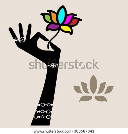 Hand holding lotus flower (jewelery hand flower all separate elements)  - stock vector