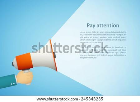 hand holding loudspeaker eps10 flat illustration - stock vector