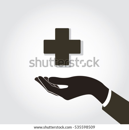 hand holding medical icon vector