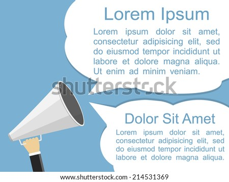 Hand holding megaphone and two speech bubbles for your text, flat design, vector eps10 illustration - stock vector