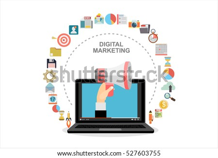 Hand holding megaphone coming out from laptop, digital marketing vector concept. Vector flat design illustration.