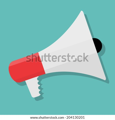 Hand holding Megaphone Icon.  Vector Illustration - stock vector