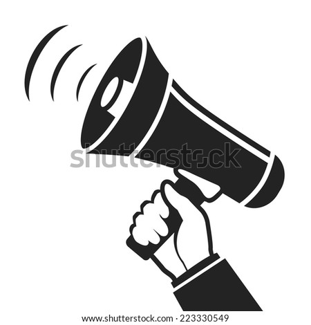 hand holding megaphone loudspeaker icon. flat style black and white vector illustration - stock vector