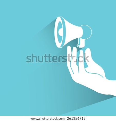 hand holding megaphone, social media marketing concept on blue background, flat and shadow theme - stock vector